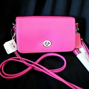 NWT COACH LEGACY Leather Penny Crossbody Swing Purse pink Swingpack ... 24e18099b60dc