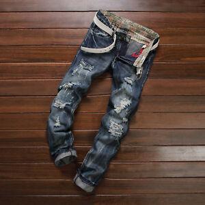 Men-039-s-Ripped-Skinny-Biker-Jeans-Destroyed-Frayed-Designed-Slim-Fit-Denim-Pants