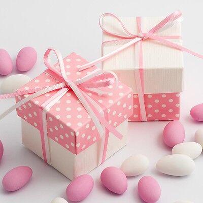 A Pois Rosa & Bianco Due Tonalità Quadrato Scatole & Coperchi + Nastro Regalo Di Nozze Favore-mostra Il Titolo Originale
