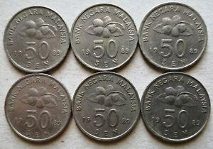 Malaysia-1989-50-sen-coin-6-pcs