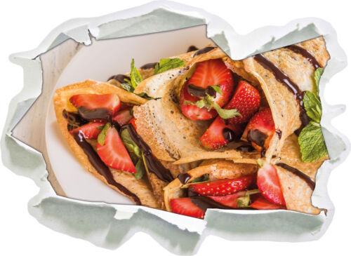 Crepes con fresas 3d-Look papel murales pegatinas-sticker