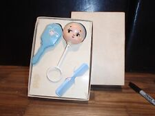 Vintage Celluloid Baby Rattle, brush and comb.  Comes in box #2