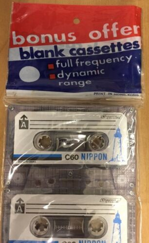 3 Lot of C-60 Blank 60 Minute Audio Cassette Tape Fine Quality Sealed Nippon