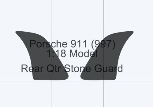 CLEAR rear qtr//wing Stone guard Foil Porsche 911 997 1:18 scale model