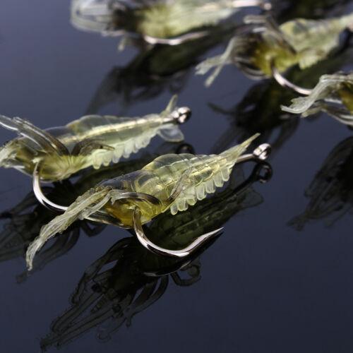 Lot 10pcs Shrimp Simulation Soft Prawn Lure Bait Hook Tackle Bass Fishing Lures