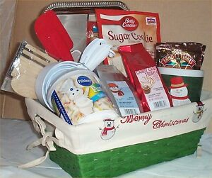 Gift Basket Sugar Cookie Snowman Coffee + Mug Hot Cocoa Spoons Frosting Tray