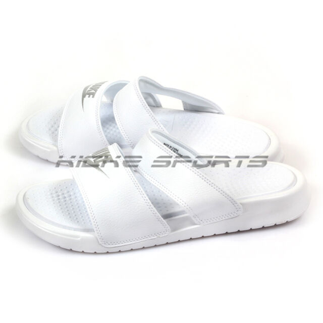 4aba245f5e98b Nike Wmns Benassi Duo Ultra Slide Sandals 2017 White Metallic Silver  819717-100