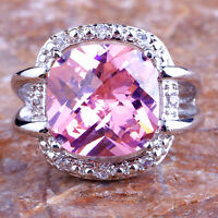 Wedding Women's Princess Cut Pink & White Topaz Gems Silver Ring Size 7 8 9 10