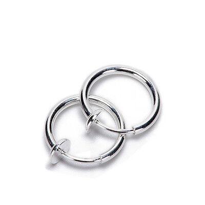 2PCS Fake Nose Lips Ring Spring Clip Hoop Earring Unisex Goth Piercing Septum