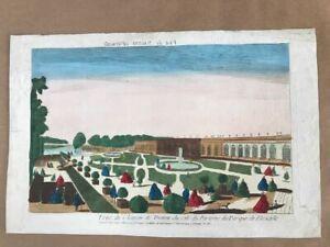 Kupferstich-um-1750-Guckkastenblatt-Vue-du-Chateau-de-Trianon