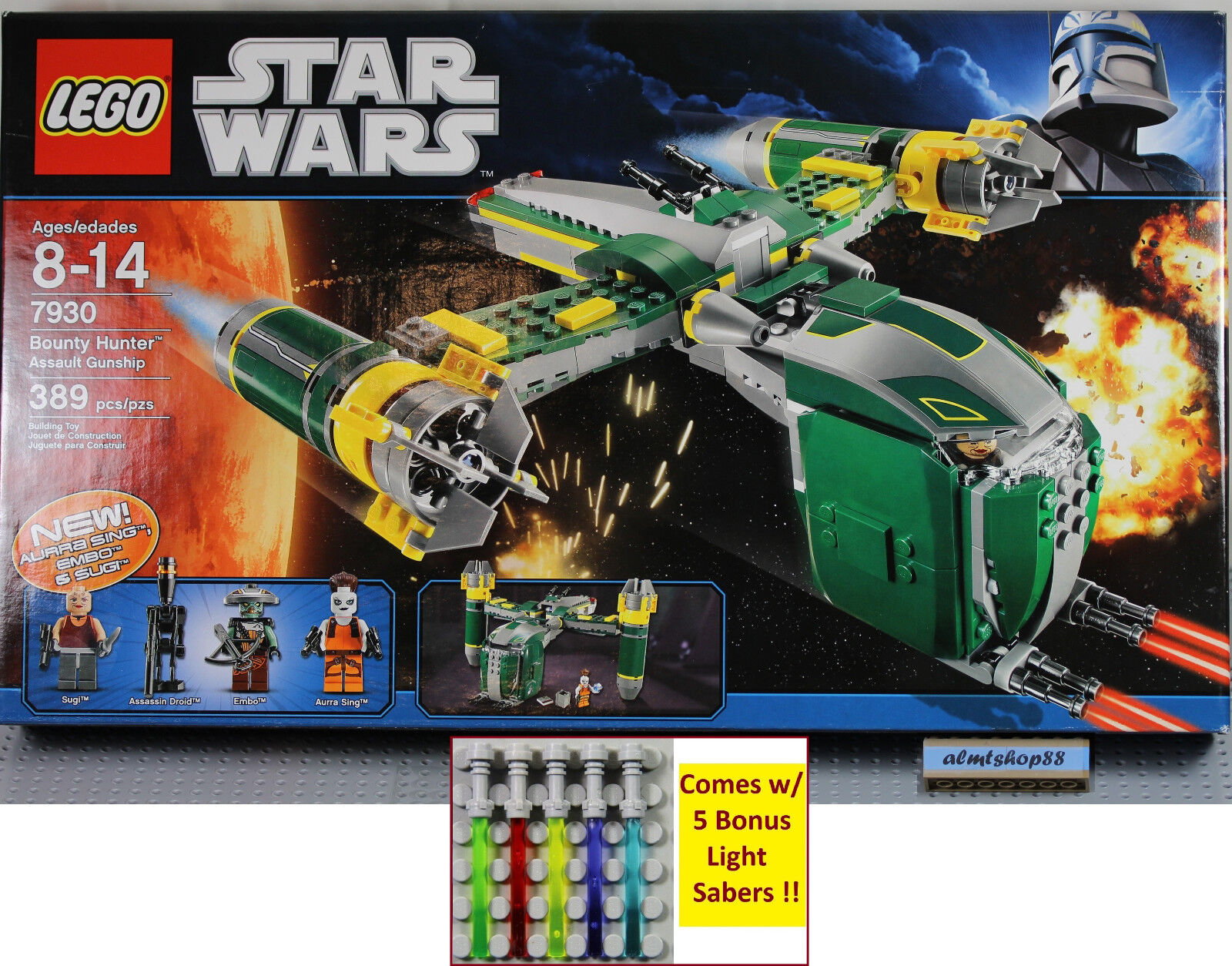 LEGO Star Wars - 7930 Bounty Hunter Assault Gunship NISB Aurra Sing Embo Sugi