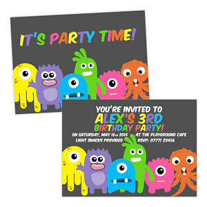Personalised-children-039-s-birthday-party-invitations-MONSTERS-FUN-KIDS-BOY-GIRL-FR