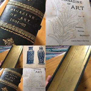 Antiquarian Book 1881-2 Magazine of Art Plates Painting Sculpture Engravings Old