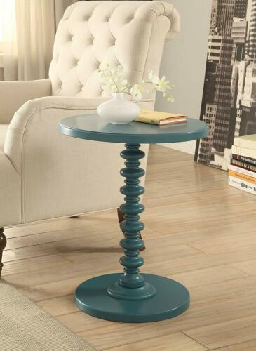 Blue Painted Wooden Spindle Table Round Top Pedestal Accent End Side Furniture