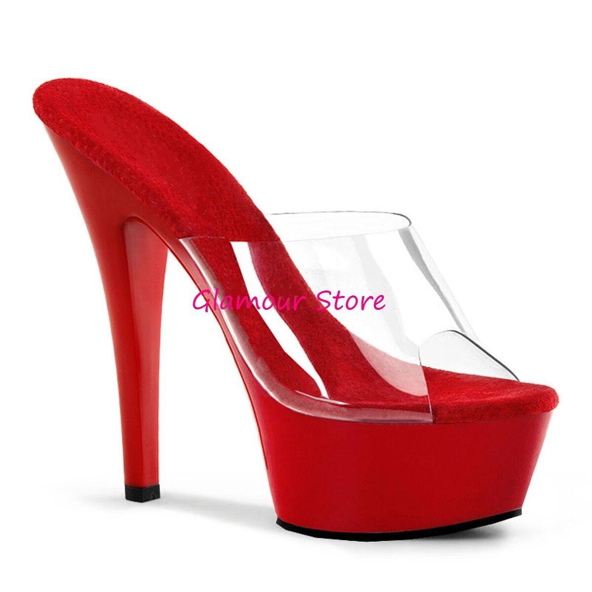 Sexy SANDALI tacco 15 dal 35 al 44 ROSSO/TRASPARENTE plateau sabot scarpe club