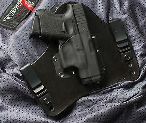 Glock 26 27 33 Black Leather Kydex Gun Holster IWB Tuck BLEMISHED ...