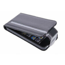 Valenta Flip with Top Closure Stripe Folio Case Cover For iPhone 5, 5S, SE-Black