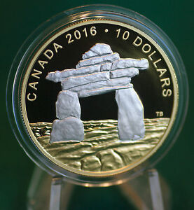 2016-CANADA-10-Inukshuk-reverse-gold-plating-99-99-silver-coin-only