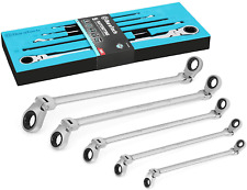 Duratech Extra Long Flex Head Double Box End Ratcheting Wrench Set Sae 516