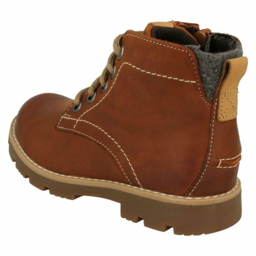 Boys Clarks Comet Rock Tan Leather Lace Up Boots