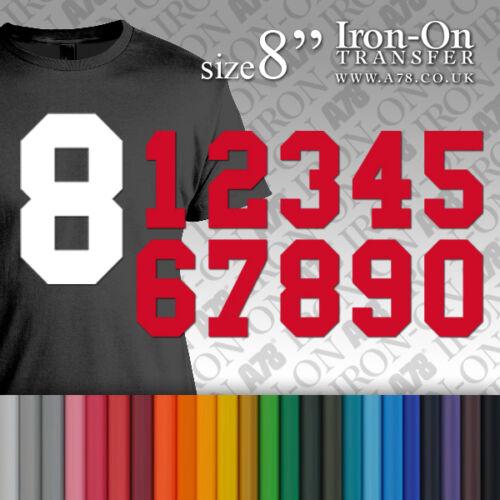 Hierro-en llano sólido Sport números transferencia tamaño 8 pulgadas de vinilo para Camiseta De Fútbol