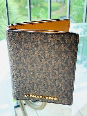 86f5a4c54ca0 NWT Michael Kors Jet Set Travel Passport Holder Wallet Case Brown /Gold  192877710400 | eBay