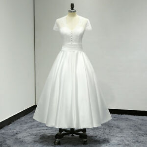 White-Ivory-Short-Sleeve-T-Length-Lace-Satin-A-Line-Wedding-Dress-Bridal-Gown
