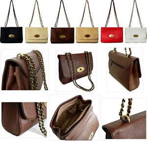 Image is loading Ladies-Twistlock-Turnlock-Bag-Cross-Body-Chain-Strap- 1ee8d9643aa99
