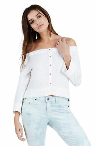 True-Religion-Women-039-s-Off-Shoulder-Button-Up-Top-Shirt-in-White