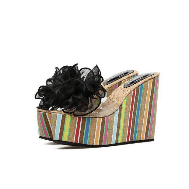 Sandali eleganti sabot zeppa 12 ciabatte nero comode simil pelle eleganti 9876