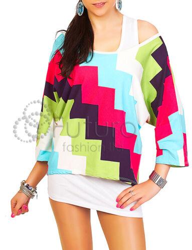 Womens Loose Top Aztec Print Kimono Style 3//4 Sleeves  Multicoloured Boluse 5024