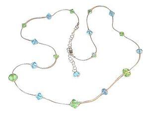 PERIDOT-GREEN-amp-AQUAMARINE-Crystal-Necklace-Sterling-Silver-Swarovski-Elements