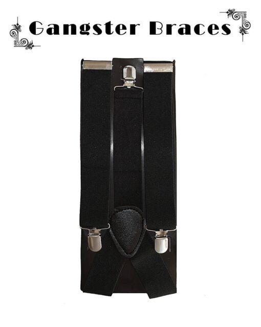 1920's Men's BLACK Wide Gangster Braces/Suspenders Gatsby Fancy Dress Costume