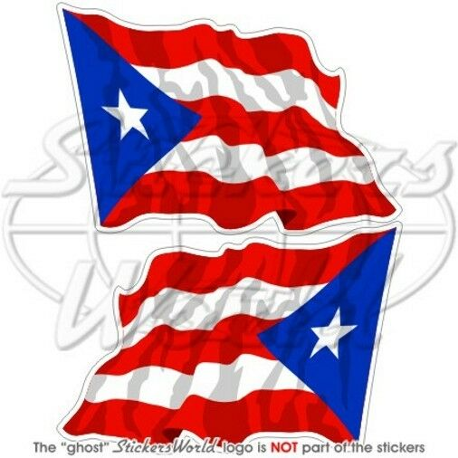 """PUERTO RICO Bandiera Onda Portoricana Adesivi in Vinile 75mm (3"""") Stickers x2"""