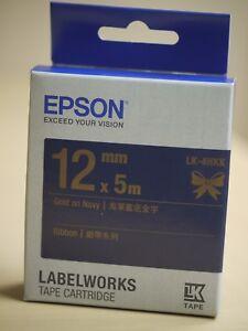 NEW-EPSON-LK-4HKK-12mm-LabelWorks-Label-Cartridge-Satin-Ribbon-Gold-on-Navy
