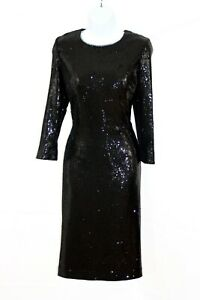 HOBBS-Black-Sequin-Special-Occasion-Open-Back-Midi-Cocktail-Dress-Uk-12
