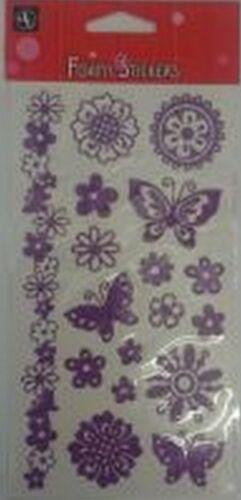 *BARGAIN* Purple Glitter Foamy flowers /& Butterfly Stickers for cards /& crafts