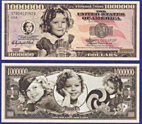 Fake 10-Shirley Temple Million Dollar Bills Collectible-Novelty MOVIE ITEM H1