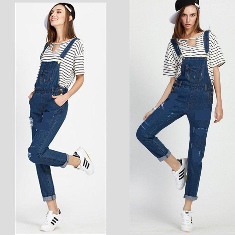 Popular New Women Denim Jumpsuit Romper Pants Jeans Long Sleeve Button Down