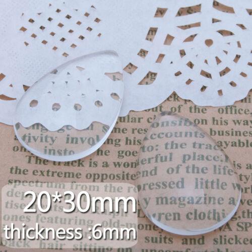 50Pcs 20*30MM Claire Larme dos plat verre cristal dôme Cabochons C3684