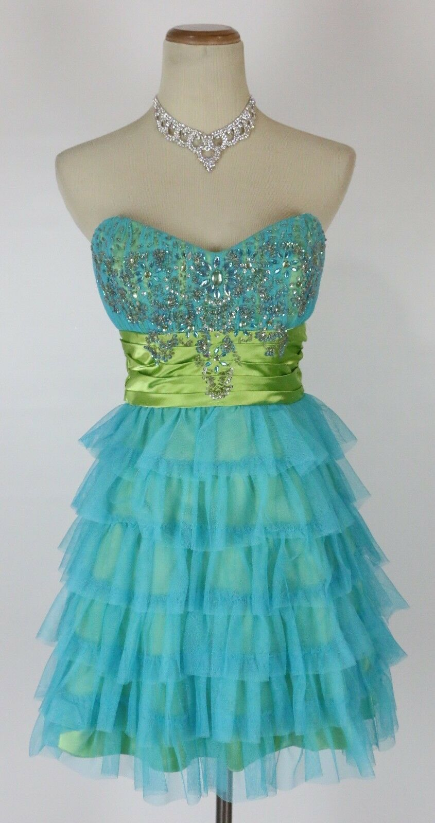 Roberta  Turquoise Prom Formal Cruise Short Evening Dress Größe 5 Gown New