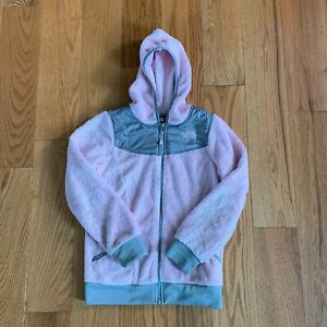 fb4b73871 Details about The North Face Hooded Jacket Pink Gray Girls Fuzzy Full Zip M  10/12