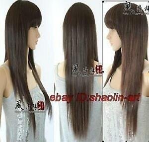 Wigs-Overwatch-D-Va-brun-long-raide-animation-Cosplay-fete-plein-cheveux
