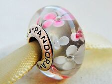 Pandora Murano Glass Charm Bead with Pink/White Flowers Silver S925 ALE New