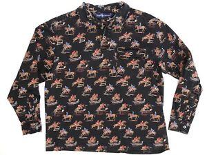 VTG-Polo-Ralph-Lauren-Womens-Shirt-M-Black-All-Over-Print-Steeplechase-Horse