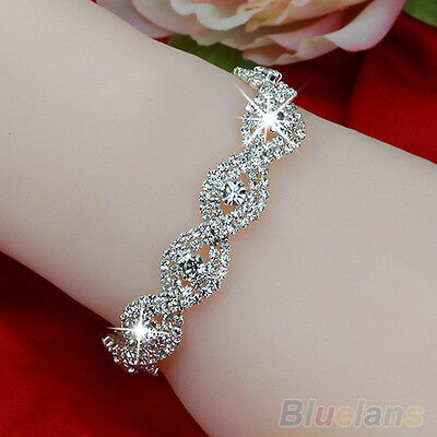 Womens Fashion Austrian Crystal Bracelets Infinity Style Chain rhinestone Bangle