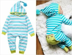 NEW-Baby-Boys-Blue-Striped-Hooded-Long-Sleeve-Romper-Jumpsuit