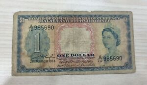 Queen-1-Dollar-1953-A-72-985690-VF-With-Hole-And-Tear