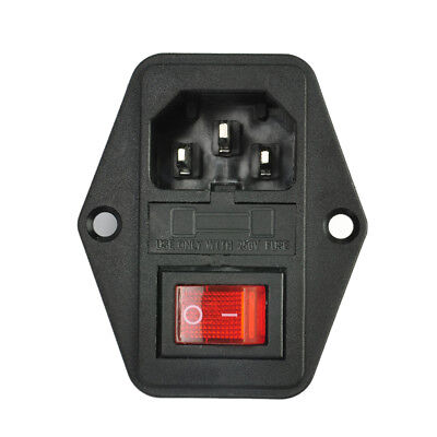 SODIAL R 3 Pin IEC320 C14 Inlet Module Plug Fuse Switch Male Power Socket 10A 250V