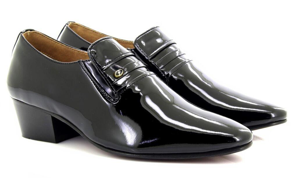 Nouvelle Mode Hommes Lucini Cuir Noir Talon Cubain Verni Chaussures Riche En Splendeur PoéTique Et Picturale